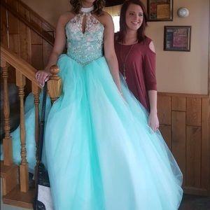 Blue Teal Mint Junior Prom Dress